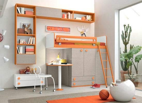 Composizione base cameretta per bambino/a, la cameretta Albicocca permette di sfruttare ed ottimizzare tutto lo spazio! IN OFFERTA SPECIALE a soli € 1.790